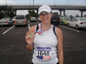 A half marathon completed 3 months after Baby #3.