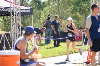 Crossing the finish line of my last triathlon.