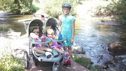 My 2 youngest ride in the stroller while the oldest rides a bike.  This day we did 7 miles!