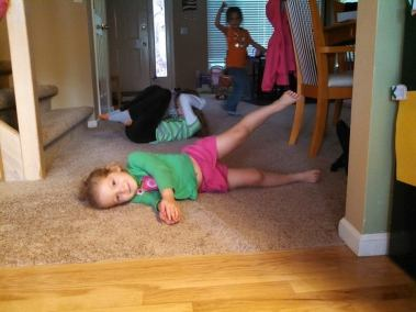 We even inspired the youngest child to do the workouts with us!